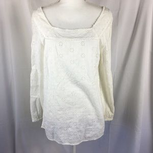 Anthropologie odille white eyelet top size 12